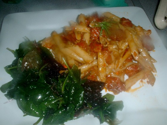 Chorizo and Taleggio Pasta Bake with Salad