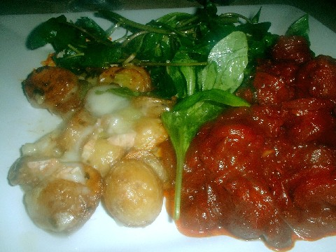 Chorizo in red wine with baby potatoes and salad