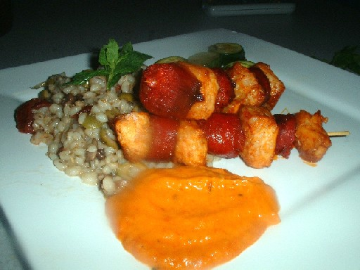 croc and chorizo skewers with red pepper sauce
