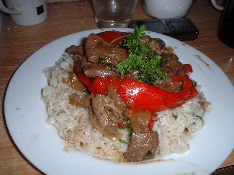 Liver with red pepper and pernod