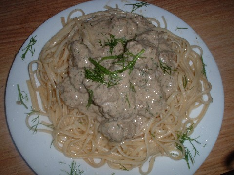 Swedish Meatballs, linguine and dill and sour cream sauce