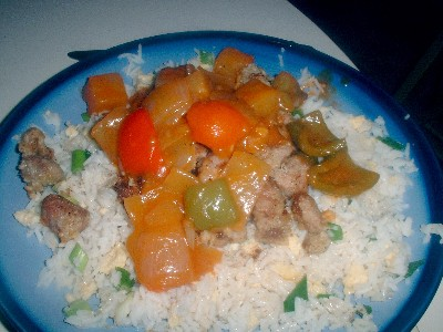Sweet and Sour Turkey with Egg fried Rice