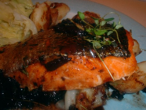 salmon with red wine and bacon sauce