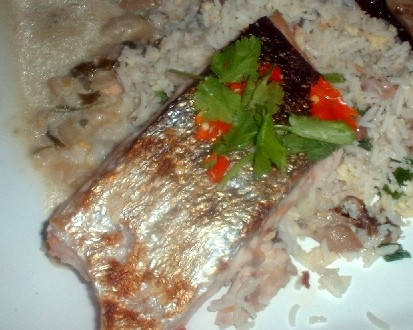 Salmon in athai marinade