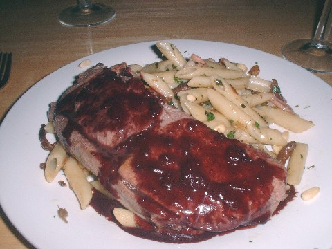 venison with red wine and pasta