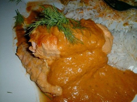 Salmon tikka masala