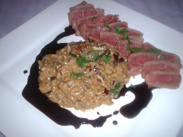 steak, risotto, jus