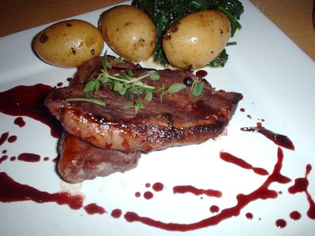 Boar steak, sauce and veg