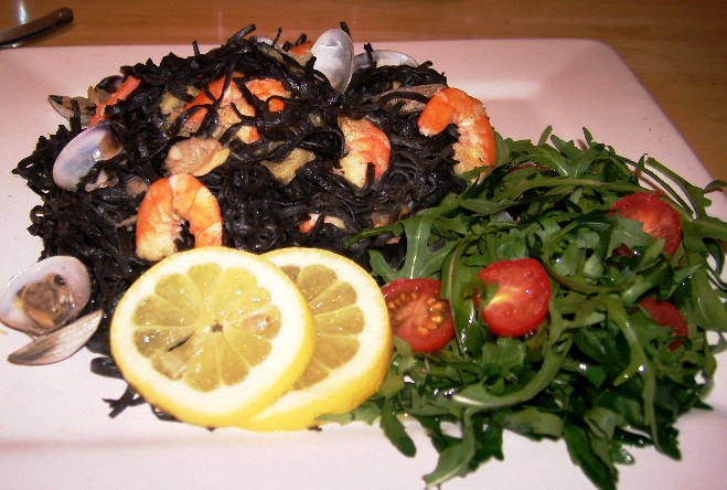 Shellfish on Squid ink pasta