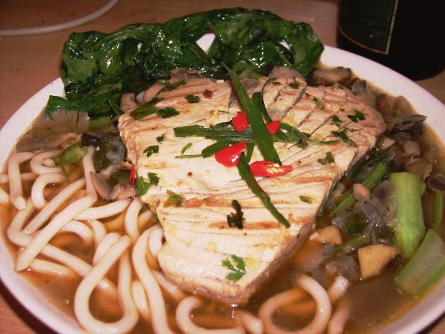 tuna, udon noodle soup
