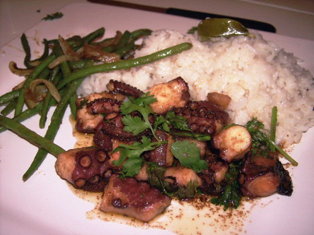 Spiced Octopus with lime and coconut rice and curried beans