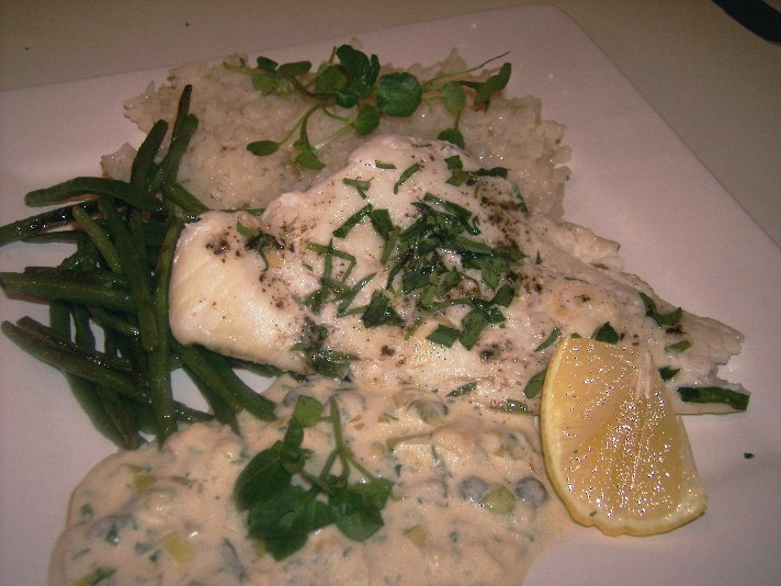 Baked Fish with sour cream and capers
