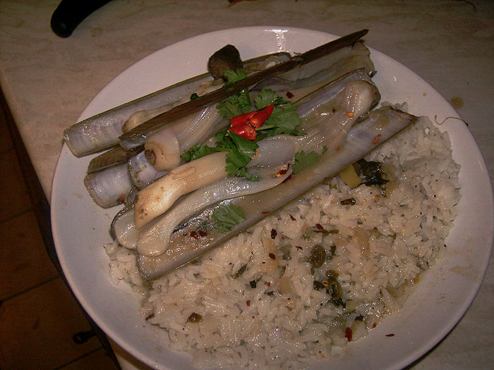 razor clams in thai broth