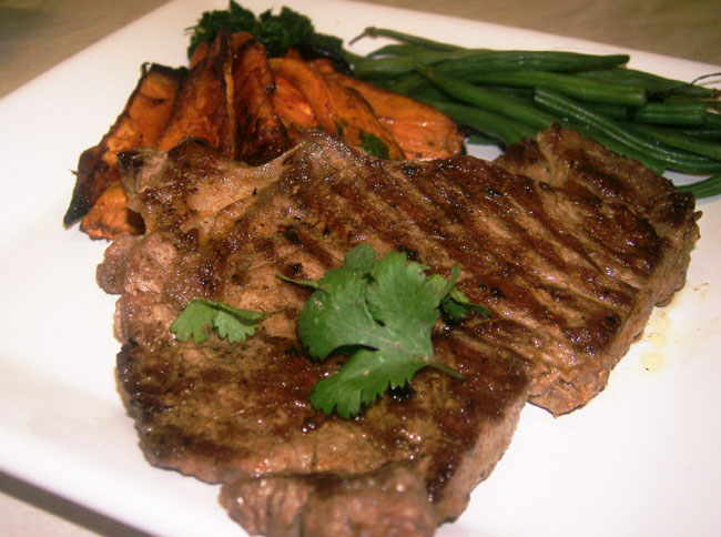 spice marinated steak, sweet potato wedges, coriander pesto