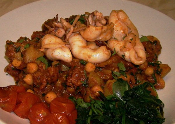 squid with chickpea chorizo tomato stew