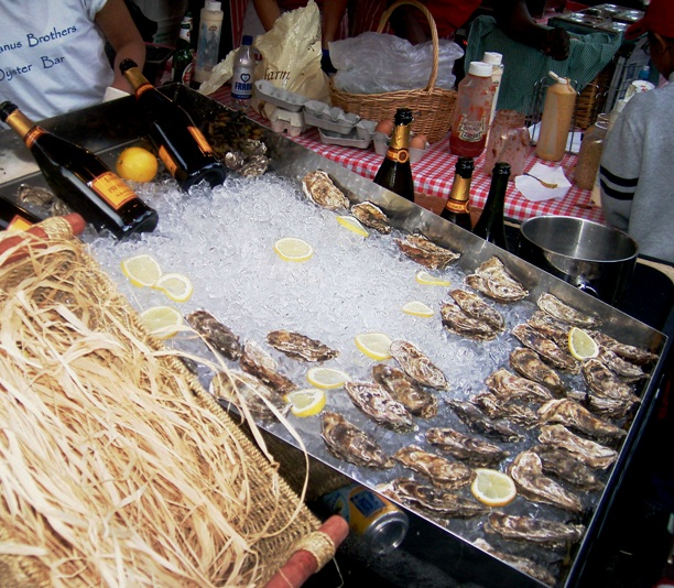 Prosecco and oyster stall