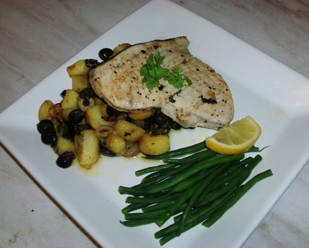 Marinated swordfish and potato salad